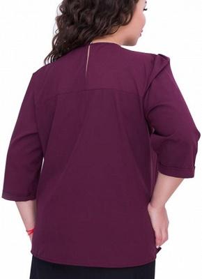Plus Size Chiffon Ruched O Neck Half Sleeve Blouse_4