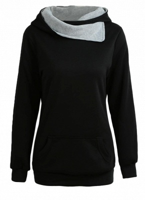 Autumn Winter  Casual Solid  Sweatshirt Pocket Long Sleeve Women's Hoodies_2