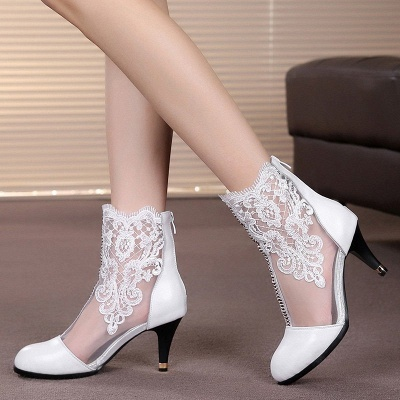 Dress All Season Stitching Lace Mesh Stiletto Heel Boot_6