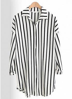 Striped Turn-down Collar Long Sleeve Long Shirt_4