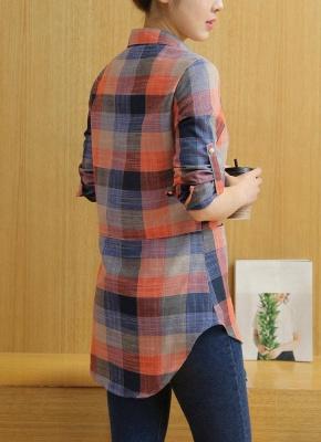 Plaid Rolled Sleeve Irregular Hem Button Plus Size Long Shirt_4