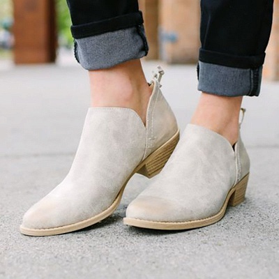 Women Pu zipper Casual Daily  Chunky Boots_5