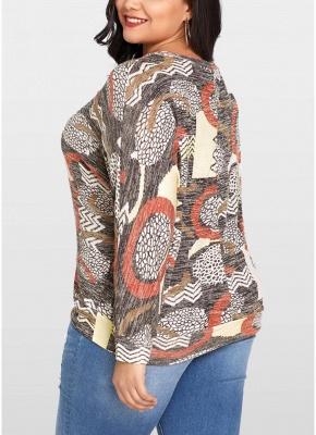 Women Plus Size Blouse Geometric Print Bat Long Sleeves O-neck Loose Top_4