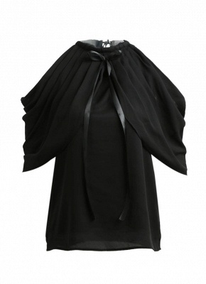 Chiffon Off Shoulder Halter Round Neck Bow Ruched Women's Blouse_1