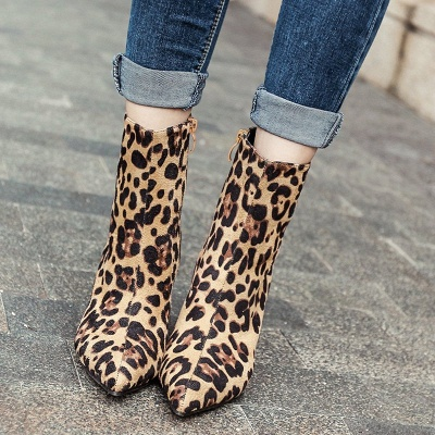 Leopard Date Zipper Suede Pointed Toe Boots_3
