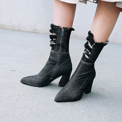 Denim Daily Zipper Chunky Heel Pointed Toe Boots_5