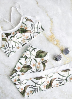 Fashion Women Gym Fitness Top Leggings Suit Floral Leaf Print Mesh Running Sports Yoga Workout Tracksuit_4