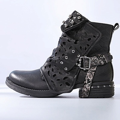 Hollow-out Daily Chunky Heel Round Toe Boots_2