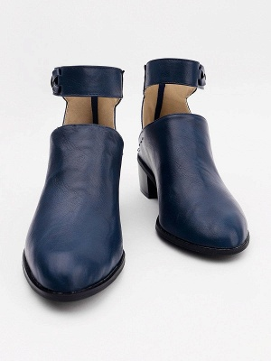 Women Chunky Heel Daily Zipper Round Toe Boots_16