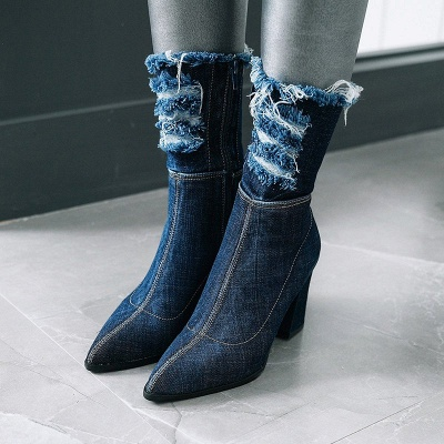 Denim Daily Zipper Chunky Heel Pointed Toe Boots_9