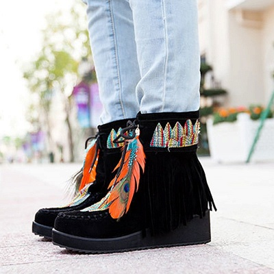 Tassel Wedge Heel Daily Round Toe Casual Boots_5