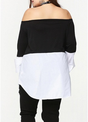 Sexy Women Plus Size Blouse Off Shoulder Contrast Color Long Sleeve Asymmetric Loose Shirt Tops Black_5