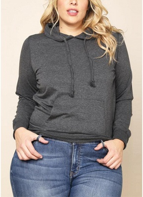 Women Plus Size Sweatshirt Solid Hooded Drawstring Pocket Long Sleeve Casual Oversized Pullover_2