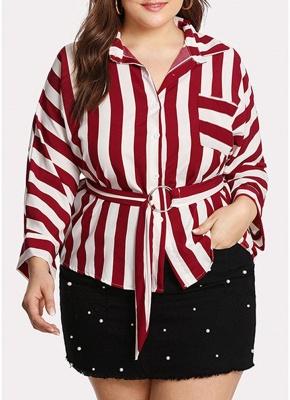 Striped Belt Button Front Long Sleeve Shirt_1