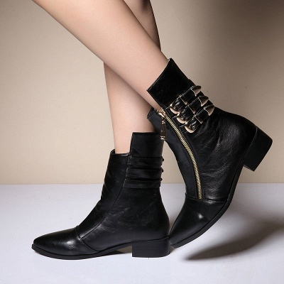 PU Chunky Heel Zipper Pointed Toe Casual Boots_6