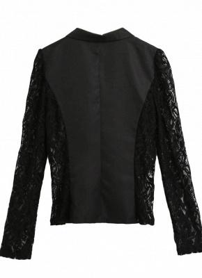 Autumn Women Jacket Lace Splicing Slim Suit One Button Casual Coat Blazer_4