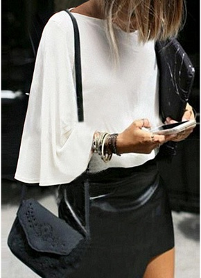 Women Batwing Sleeve Plus Size O Neck 3/4 Sleeve T-Shirt_1