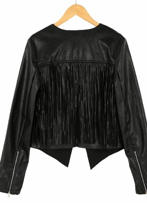 Women PU Leather Long Sleeve Tassel Fringe Jacket_6