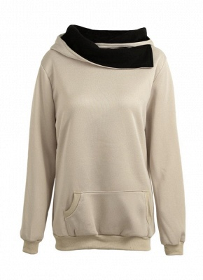 Autumn Winter  Casual Solid  Sweatshirt Pocket Long Sleeve Women's Hoodies_1