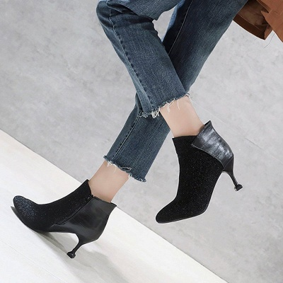Zipper Date Cone Heel Pointed Toe Sequin   Boots_4