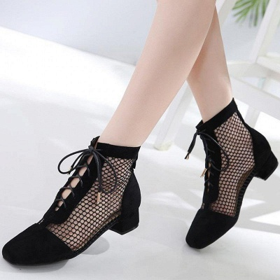 Mesh See Through Look Black Lace-up Summer Boots_4