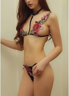 Seductive Floral Embroidery Women Lingerie Bra Set  Body Cage Bikini Erotic Bralette G-string 2 Piece Set Black_4