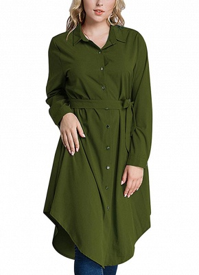 Women Long Sleeve Irregular Hem Belted Solid Tunic Plus Size Shirt_4