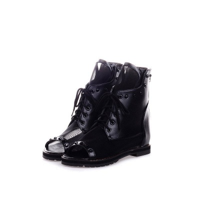 Rivet Mesh Peep Toe Lace-up Chunky Boots_11