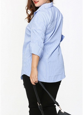 Plus Size Striped Floral Embroidery Long Sleeve Casual Loose Blouse_5