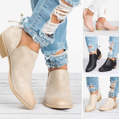 Women Pu zipper Casual Daily  Chunky Boots_7