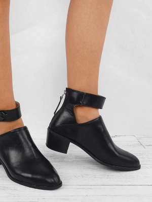 Women Chunky Heel Daily Zipper Round Toe Boots_3