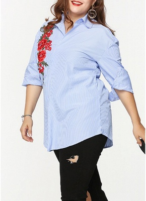 Plus Size Striped Floral Embroidery Long Sleeve Casual Loose Blouse_3