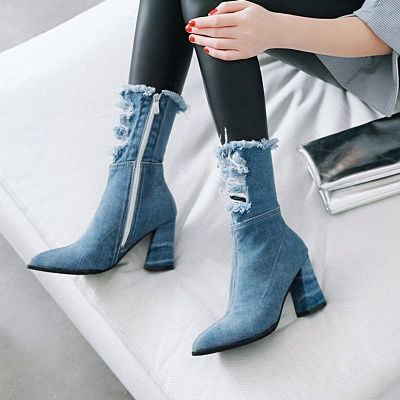 Denim Daily Zipper Chunky Heel Pointed Toe Boots_8