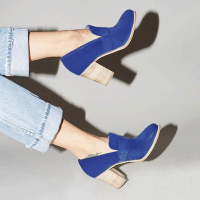 Casual Suede Chunky Heel Slip-On Boots_13