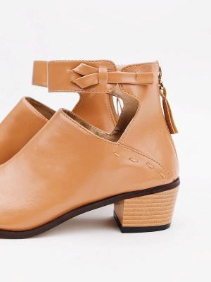 Women Chunky Heel Daily Zipper Round Toe Boots_18