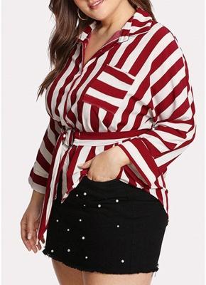 Striped Belt Button Front Long Sleeve Shirt_4
