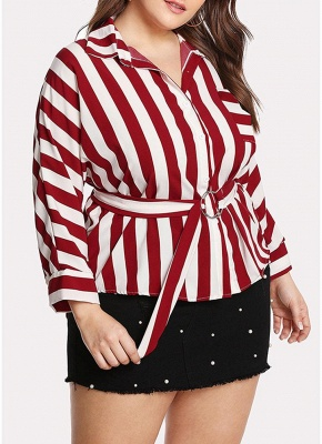 Striped Belt Button Front Long Sleeve Shirt_3