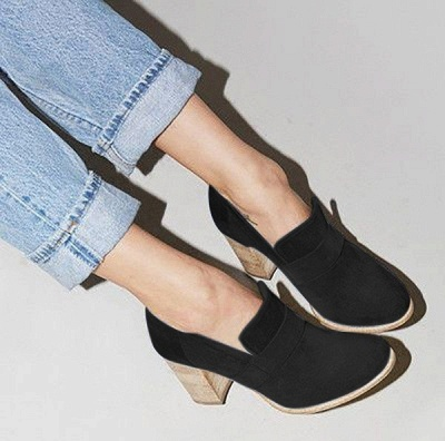 Casual Suede Chunky Heel Slip-On Boots_3