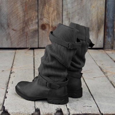 Comfy Cabin Sweater Boots Paneled Adjustable Buckle Boots_7