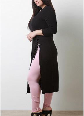 Women Plus Size Longline Tee Lace Up Side Slit_3