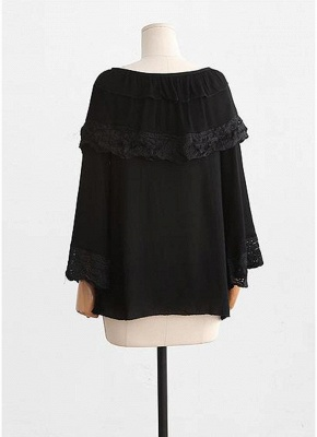 Women Plus Size Top Scalloped Lace Ruffles Tied Front Flared Bell Sleeves Blouse_5