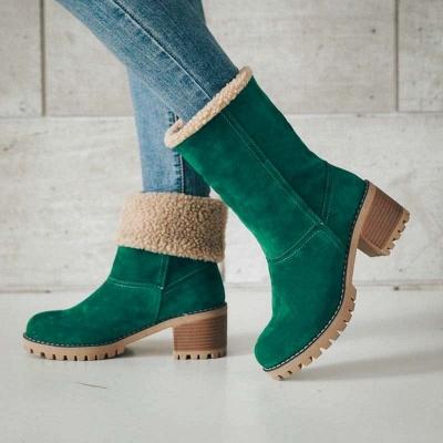 Nubuck Chunky Heel Slip-On Round Toe Boots_8