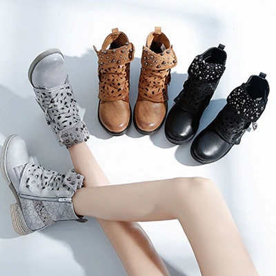 Hollow-out Daily Chunky Heel Round Toe Boots_5