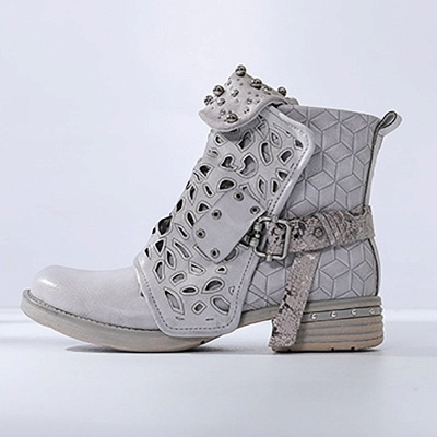 Hollow-out Daily Chunky Heel Round Toe Boots_11