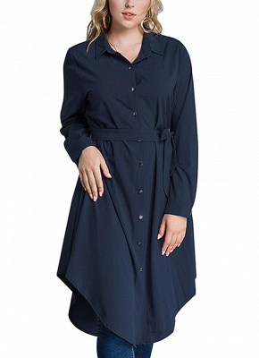 Women Long Sleeve Irregular Hem Belted Solid Tunic Plus Size Shirt_2