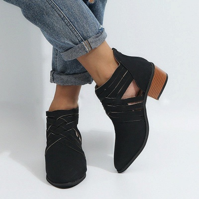 Low Heel Hollow-out PU Casual Zipper Boots_19