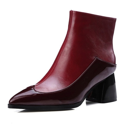 Chunky Heel Zipper Daily Elegant Pointed Toe Boots_2