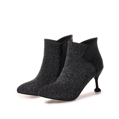 Zipper Date Cone Heel Pointed Toe Sequin   Boots_2