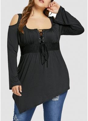 Women Plus Size T-Shirt Lace Up Cold Shoulder Casual Shirt Top_1