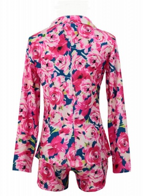 Plus Size Floral Print Notched Collar Long Sleeve Blazer with Shorts Twinset_3